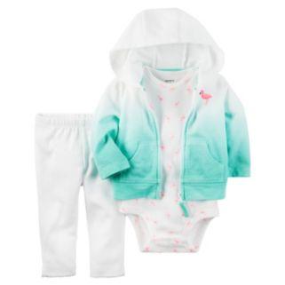 Baby Girl Carter's Dip-Dye Sweatshirt, Flamingo Bodysuit & Leggings Set