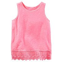 Toddler Girl Carter's Pink Slubbed Lace Hem Tank Top