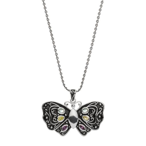 Sterling Silver Cubic Zirconia Butterfly Pendant Necklace