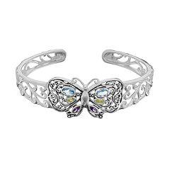 Sterling Silver Cubic Zirconia Butterfly Cuff Bracelet