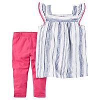 Toddler Girl Carter's Striped Linen Top & Leggings Set