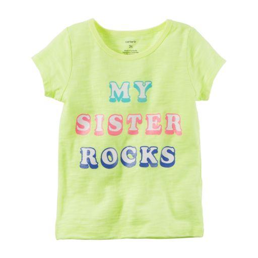 "Toddler Girl Carter's ""My Sister Rocks"" Slubbed Neon Tee"