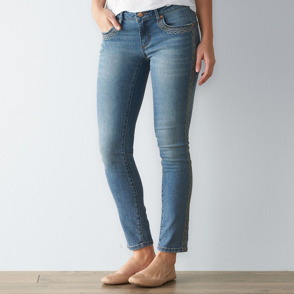 Women's SONOMA Goods for Life™ Embroidered Skinny Jeans