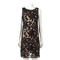 Women's Ronni Nicole Flocked Lace Shift Dress