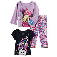 Disney's Minnie Mouse Baby Girl Graphic Tees & Dot Leggings Set