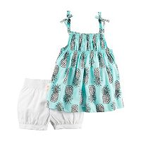 Toddler Girl Carter's Pineapple Tank Top & Bubble Shorts Set