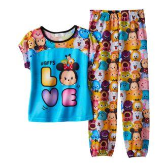 "Disney's Tsum Tsum Mickey Mouse, Pluto & Minnie Mouse ""#BFFs Love"" Pajama Set"