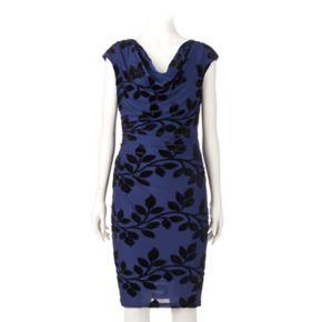 Women's Ronni Nicole Velvet Flocked Sheath Dress