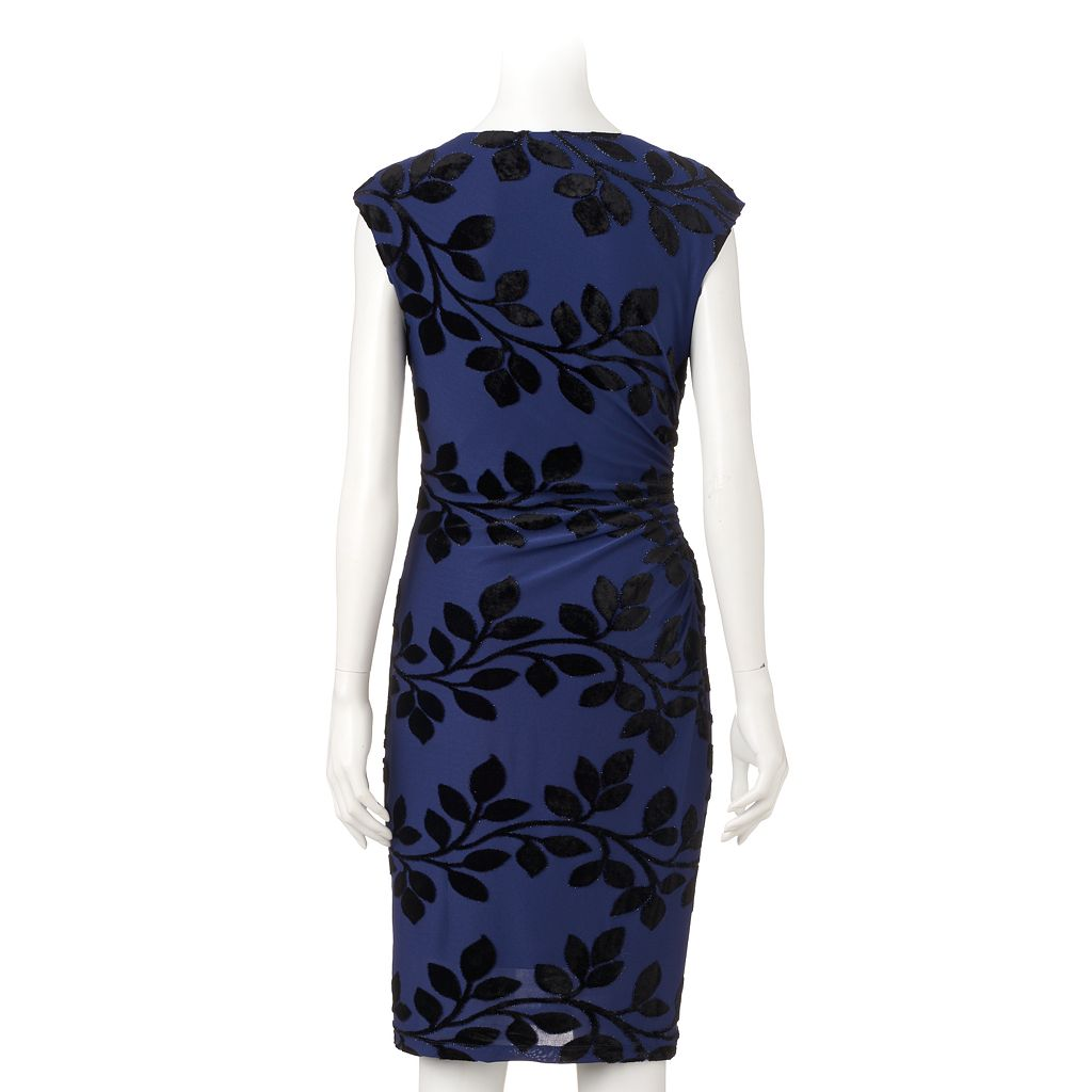 Women's Ronni Nicole Velvet Flocked Sheath Dress