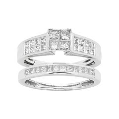 14k White Gold 1 Carat T.W. IGL Certified Diamond Square Engagement Ring Set