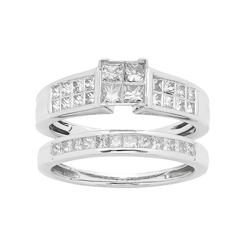 14k White Gold 1 Carat T.W. IGL Certified Diamond Square Engagement Ring Set