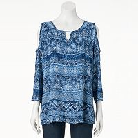 Women's Double Click Strappy Cold-Shoulder Top