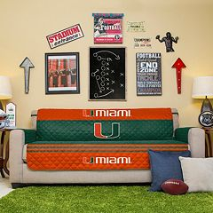 Miami Hurricanes Quilted Sofa Cover