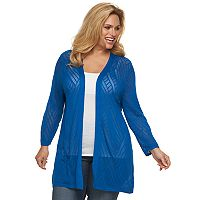 Plus Size Croft & Barrow® Pointelle Open-Front Cardigan