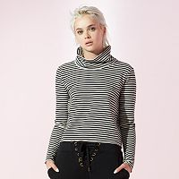Women's JUICY Striped Turtleneck Crop Tee