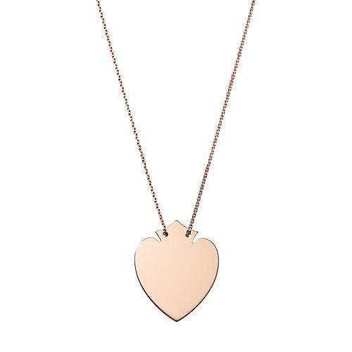 14k Rose Gold Heart Shield Pendant Necklace