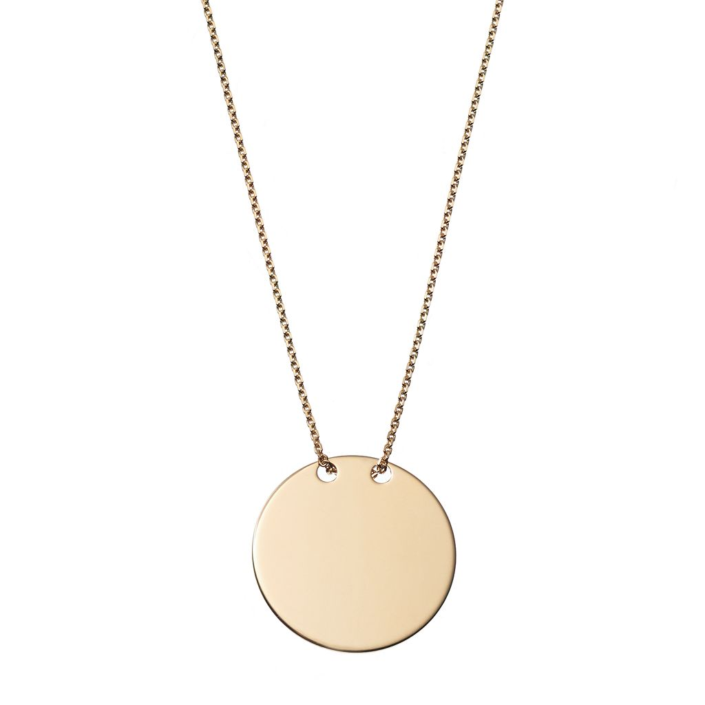 14k Gold Disc Pendant Necklace