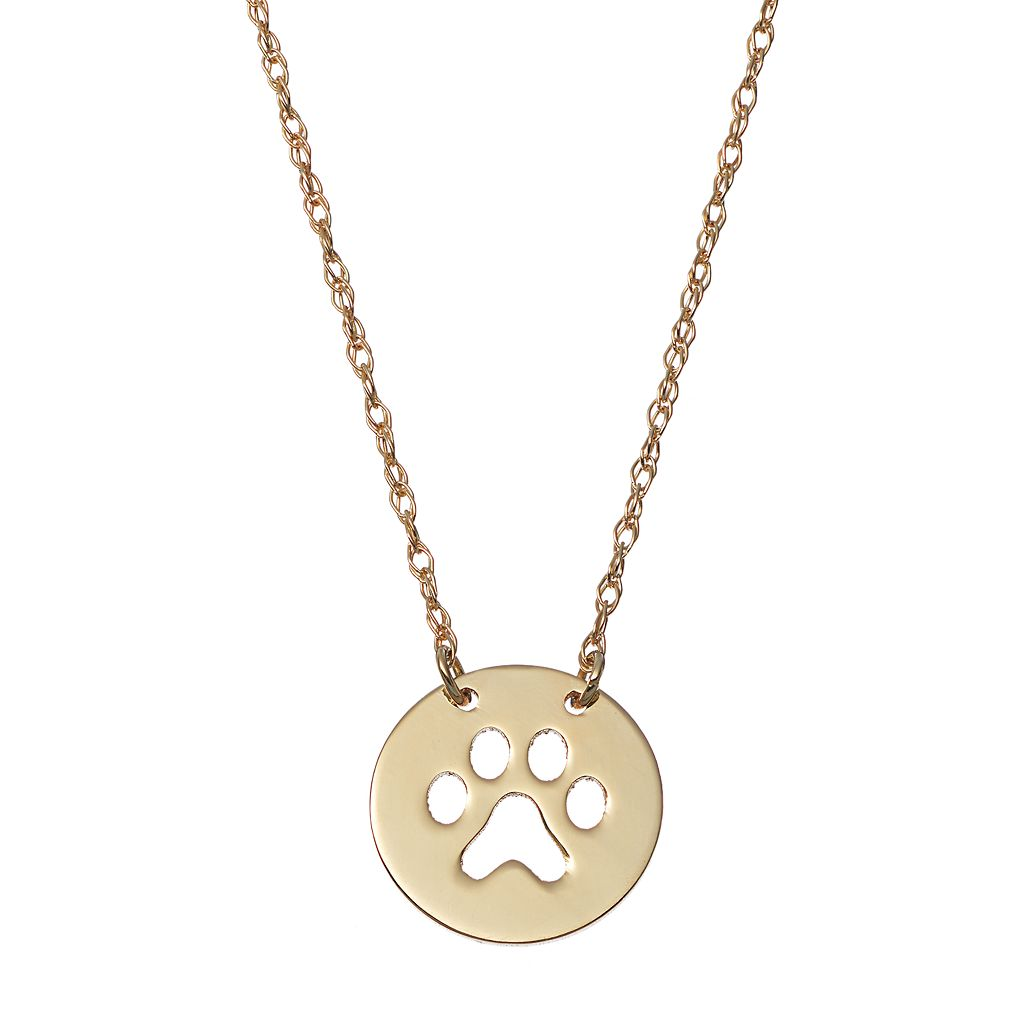 14k Gold Paw Print Disc Necklace