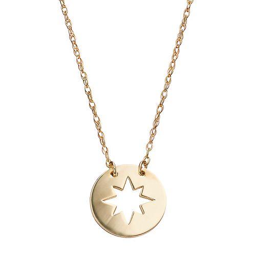 14k Gold Star Disc Necklace