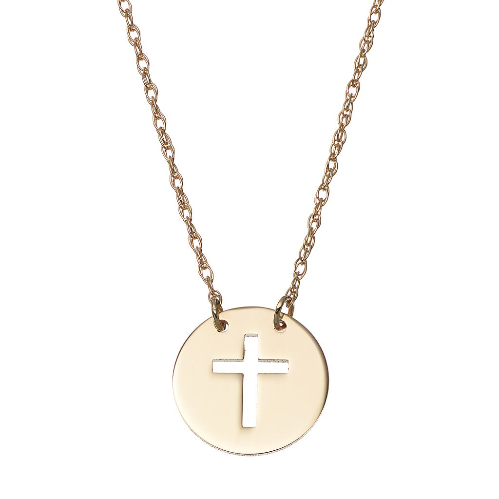 14k Gold Cross Disc Necklace