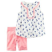 Toddler Girl Carter's Palm-Tree Tank Top & Bike Shorts Set