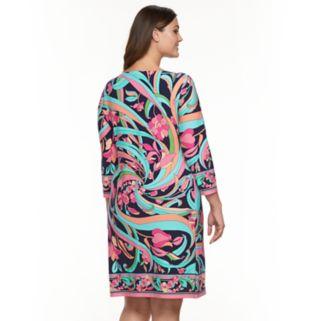 Plus Size Suite 7 Tropical Floral Shift Dress