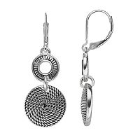 Dana Buchman Textured Double Disc Drop Earrings