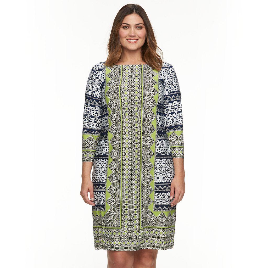 Plus Size Suite 7 Geometric Shift Dress
