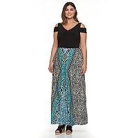 Plus Size Suite 7 Tribal Cold-Shoulder Maxi Dress