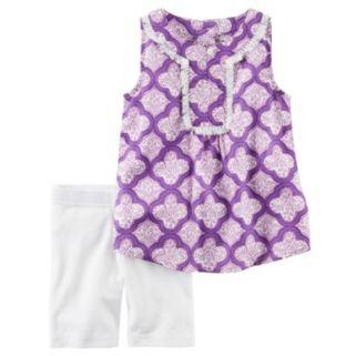 Toddler Girl Carter's Fringe Tank Top & Bike Shorts Set