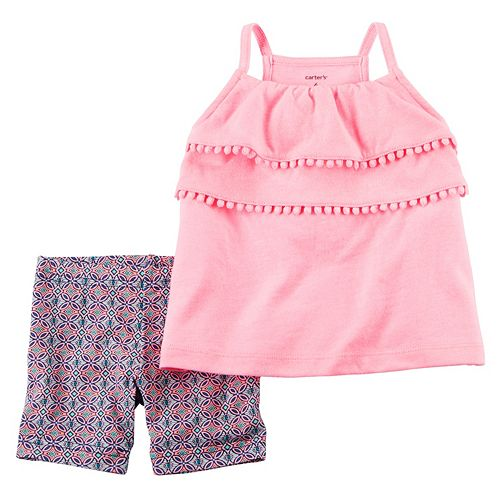 Carters Baby Girls Tiered Tank With Stripe Jersey Short Set