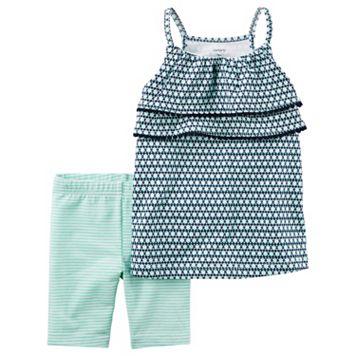 Toddler Girl Carter's Geometric Tank Top & Striped Bike Shorts Set