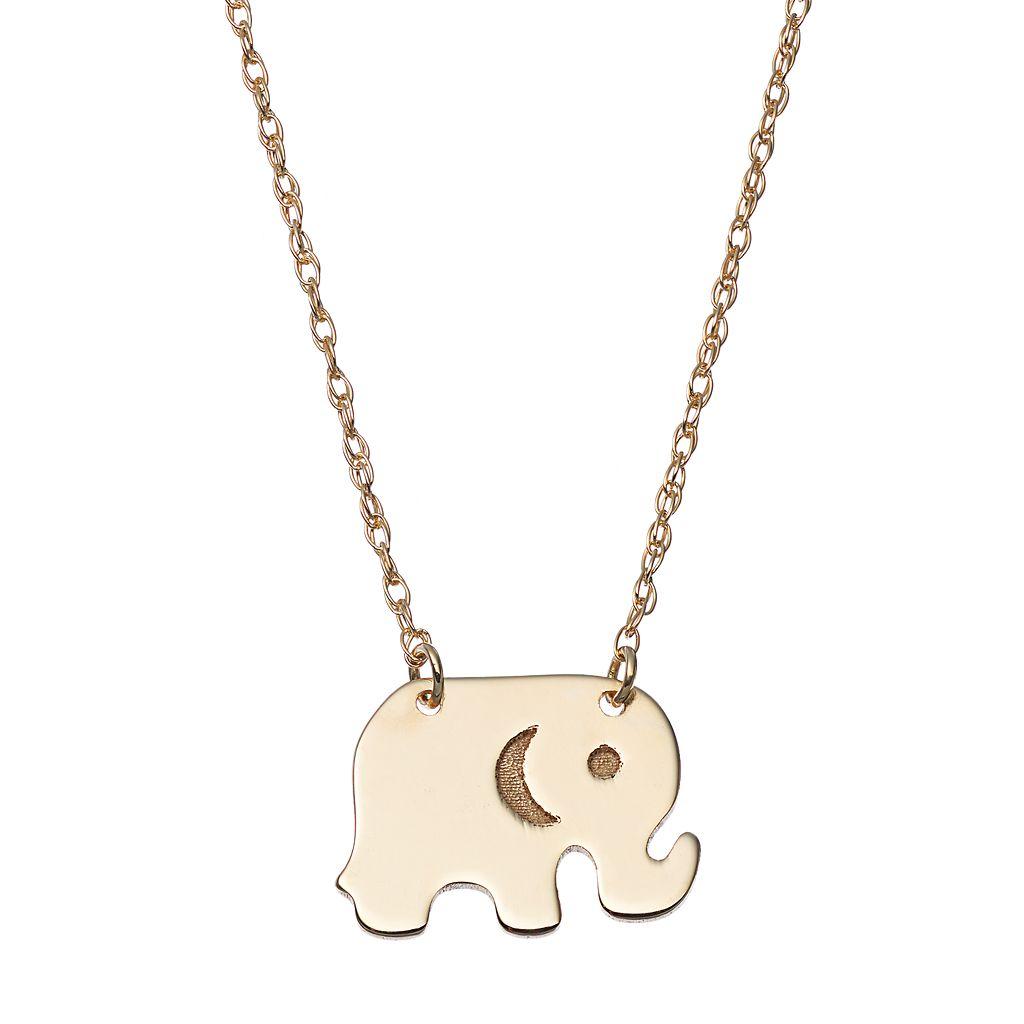 14k Gold Elephant Necklace