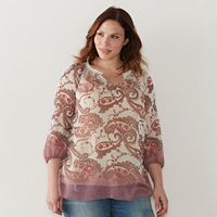 Plus Size SONOMA Goods for Life™ Printed Chiffon Popover Peasant Top