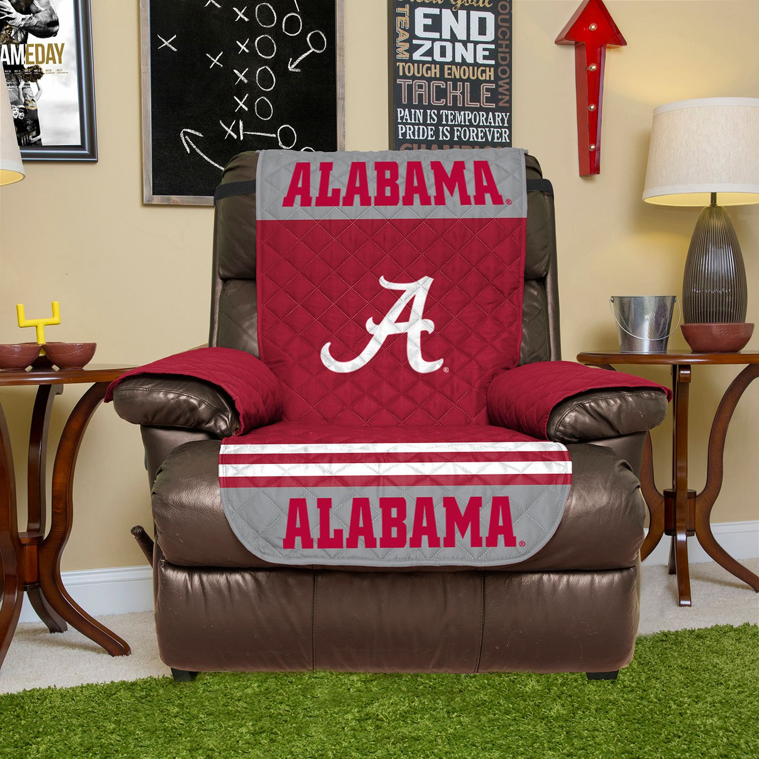 Awesome Alabama Crimson Tide Quilted Recliner Chair Cover