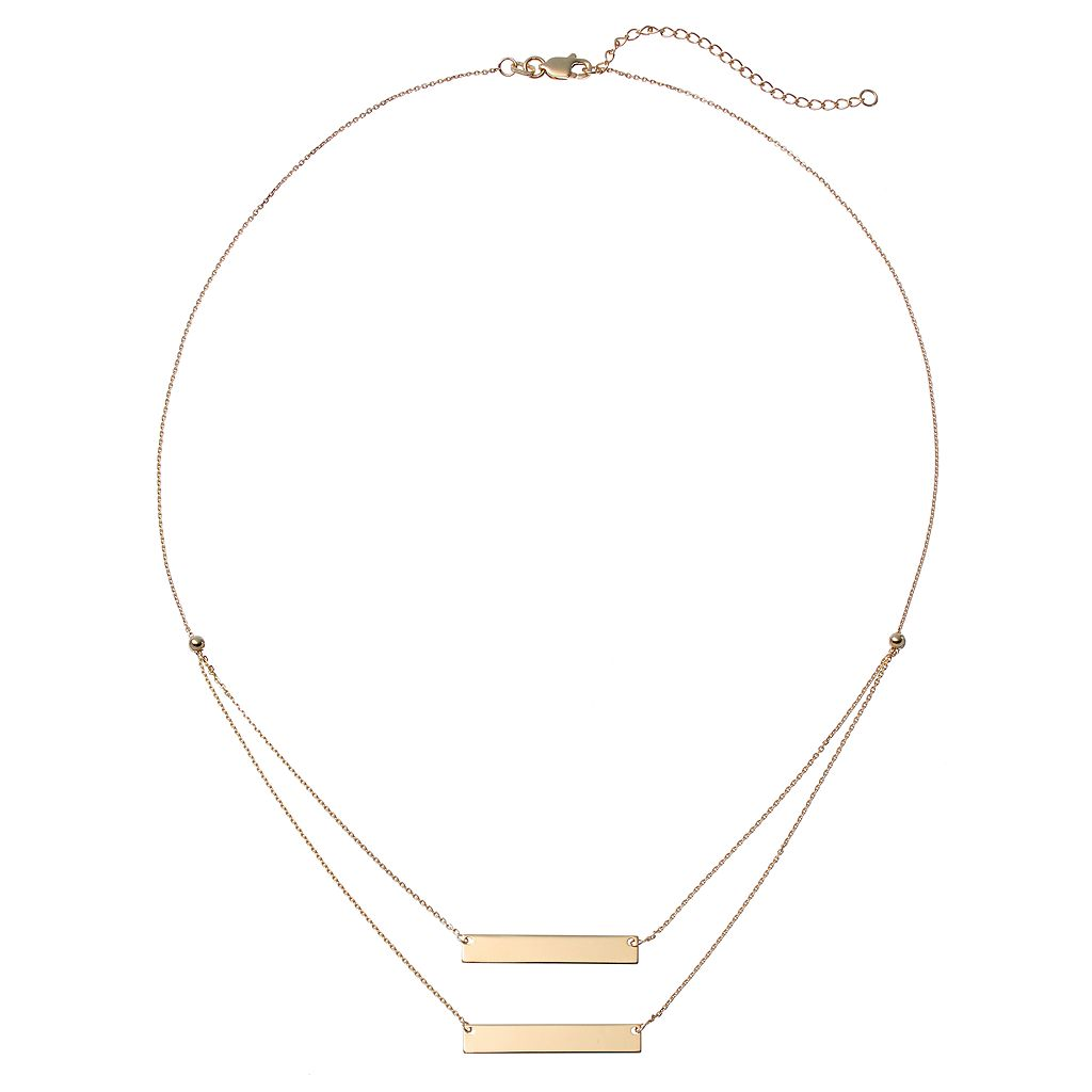 14k Gold Double Bar Swag Necklace