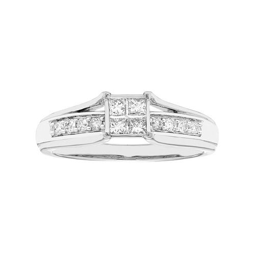 10k Gold 1/3 Carat T.W. Diamond Square Engagement Ring