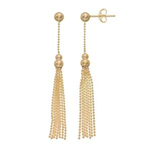 14k Gold Ball Stud Tassel Drop Earrings