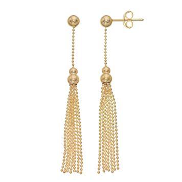 14k Gold Ball Stud Tassel Drop Earrings