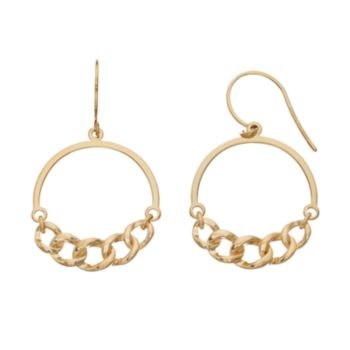 14k Gold Curb Chain Hoop Earrings