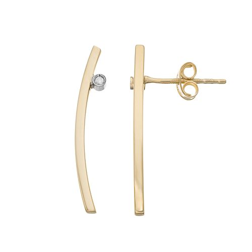 14k Gold Diamond Accent Curved Bar Stud Earrings
