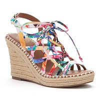 SO® Women's Lace-Up Espadrille Wedge Sandals