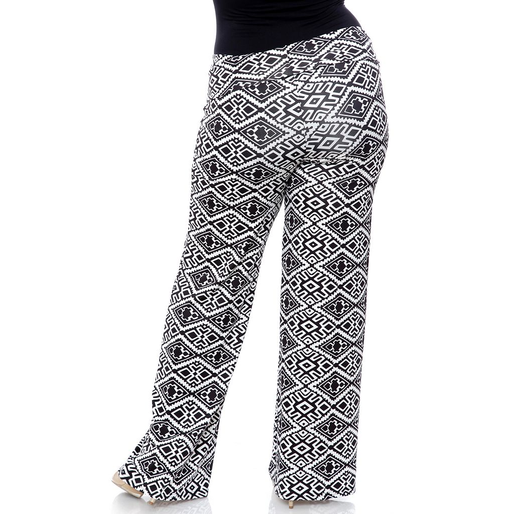 Plus Size White Mark Solid Palazzo Pants