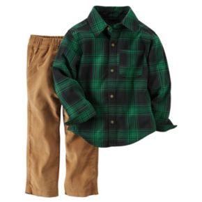 Baby Boy Carter's Button-Down Flannel Shirt & Corduroy Pant Set