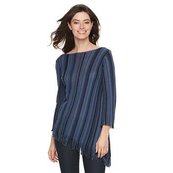 Petite Dana Buchman Striped Fringe Sweater