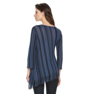Petite Dana Buchman Striped Fringe Sweater