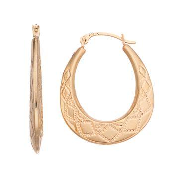 Forever 14K Oval Hoop Earrings