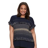 Plus Size Dana Buchman Fringe Dolman Sweater