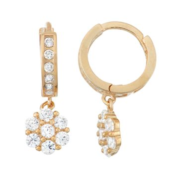 Junior Jewels Kids' 14k Gold Over Silver Cubic Zirconia Flower Drop Earrings