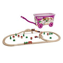 Eichhorn 55 pc Wooden Train Set & Wheeled Storage Box